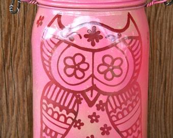 Owl Mason Jar Light, Outdoor Solar Light, Canning Jar Lantern, Mason Jar Lighting, Pink and Green