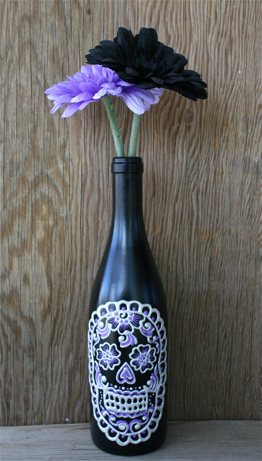 Sugar Skull Wine Bottle Vase Up Cycled Day Of The Dead