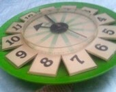 SUNBEAM MID CENTURY Modern Eames Mad Men Howard Miller George Nelson era Green Clock Atomic Space Age Googie Asterisk style cool collectible