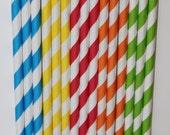 50 Sesame Street Inspired yellow green blue red orange Stripe straws paper straws birthday party cake pop sticks Bonus diy straw flags
