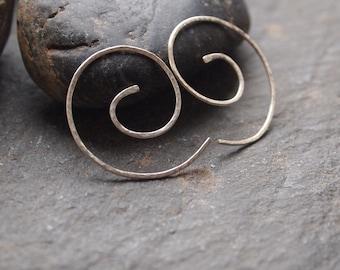 sterling silver hoop earrings, silver earring curls, hammered silver handmade earrings