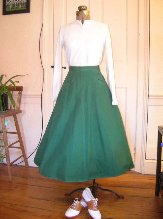 1950s Green Poodle/Sock Hop Skirt