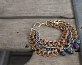 Rainbow Drusy Stone Brass Chain Link Bracelet