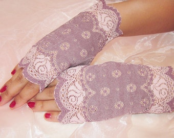 Fingerless lace gloves, pink and purple floral lace, bridal accesory