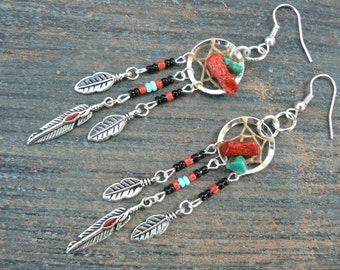 red coral and turquoise dreamcatcher earrings turquoise BLACK in tribal  inspired  tribalfusion  boho hippie belly dancer and hipster style
