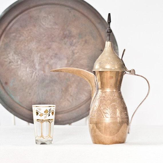 Turkish Coffee Pot Vintage Islamic Pitcher Large Brass