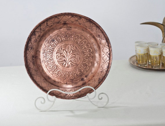Oriental Metal Wall Decor : Copper fruit bowl mediterranean decor decorative ornate large