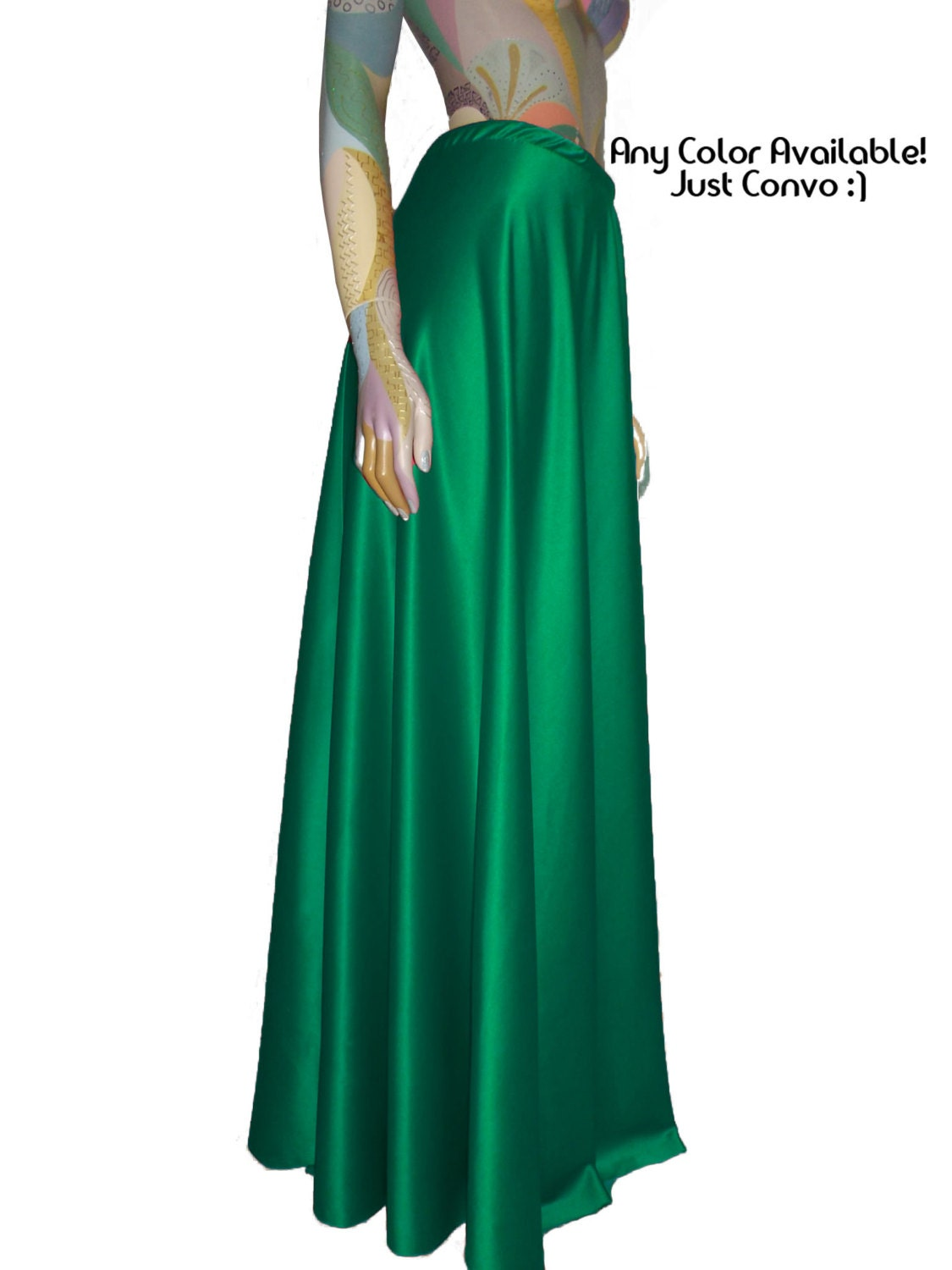 Maxi Satin Skirt Green Flowy Full Length Formal Party Skirt XS