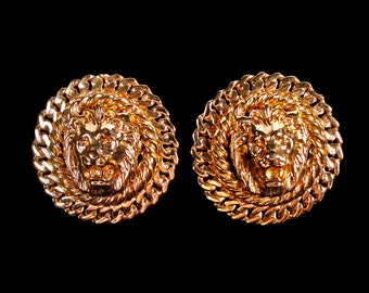 Vintage Gold Lion Head Earrings with Filigree Edge