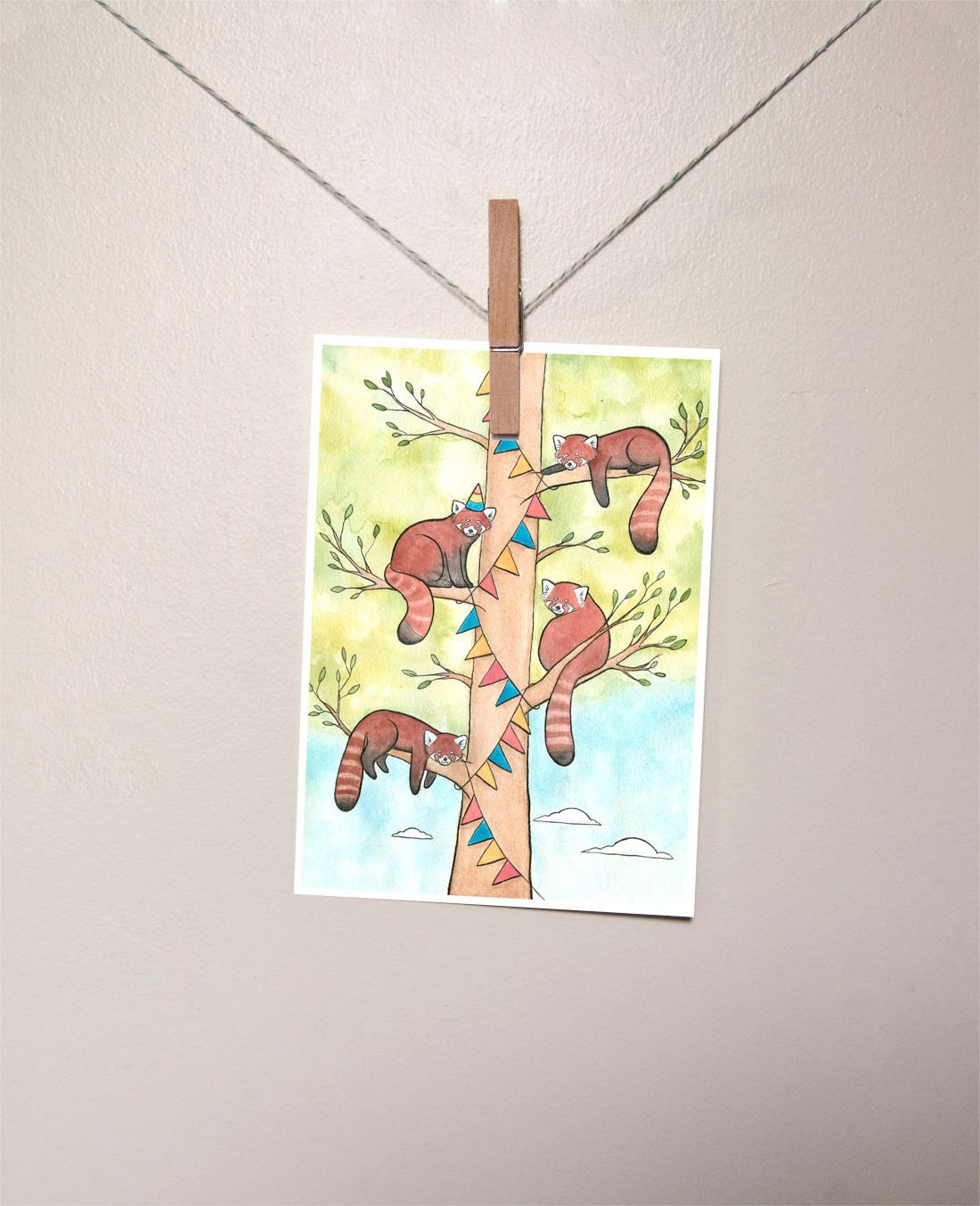 Red Pandas Hanging Banner for a Party Red Panda Art Giclee