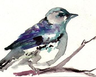"Print of Original Watercolor Painting, Titled: ""Mr. Grey"" by Jessica Buhman 8 x 10 Blue Grey Gray Black Purple Turquoise"