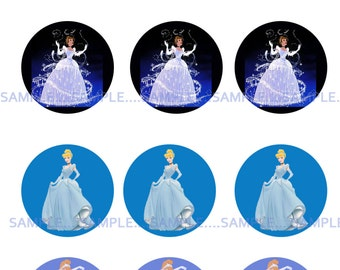 INSTANT Download!!! Cinderella, Disney Bottle Cap Images- DIGITAL-Tags-Cupcake Toppers-Scrapbooking and More.