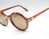 Made in france round briar root like celluloid sunglasses, Cartier style - GreenFlamingoVintage