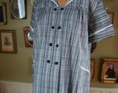 NOS 50s Maternity Plaid double button down Top w/ white piping