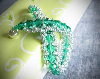 Emerald Green & Silver Bridesmaid-Trim Bracelet (500-700 Beads)