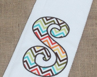 Initial Chevron Applique Kitchen Towel