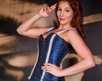 Pinup Sailor Overbust Corset- Made to order