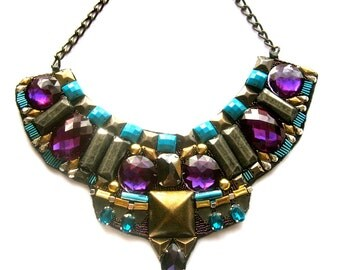 SELENE statement studded bib necklace in turquoise, purple and old gold