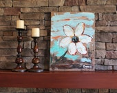 White Flower on Teal - Original abstract painting. - ArtisintheHeart