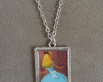 Rare Vintage 1951 Disney Alice in Wonderland Pendant & Chain