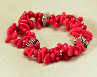 Bright red, bold and chunky coral bracelet with pewter spacers - Make a statement