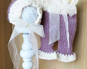 Newborn Knitted baby bonnet with organza bow & long pants set in dusty pink and cream