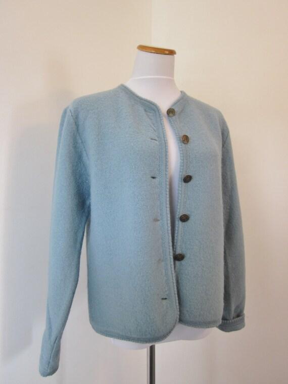 Vintage 70s Blue Wool Jacket Womens Cornflower Blue Tally Ho Sweater Jacket Size Medium Boiled Wool