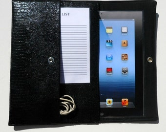 iPad, iPad2, iPad3 Case / Cover / Sleeve padded (READY TO SHIP) - Black Faux Leather