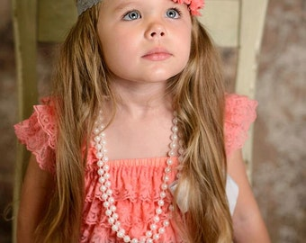 Duo Shabby Coral and Grey Lace Baby Girls headband, Coral Headband, newborn headband, Birthday headband, wedding headband, b
