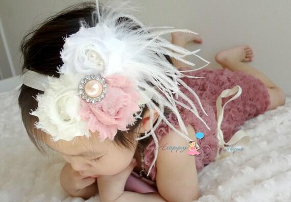 Shabby Trio Vintage Rose Feather headbands, newborn headband, Feather Fascinator, baby headband, baby photo props, birthday headband
