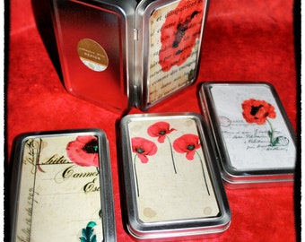 Tins / Trinket Boxes:  Set of four French Red Poppy-style
