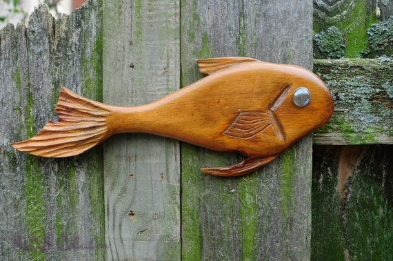 Folk art natural wood hand carved fish by mdscollection on