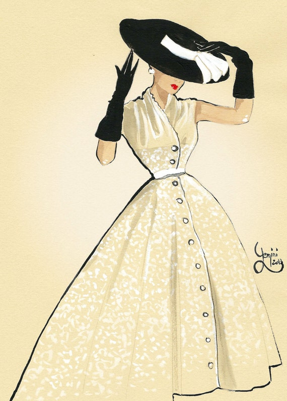 Items Similar To Vintage Fashion Illustration On Etsy
