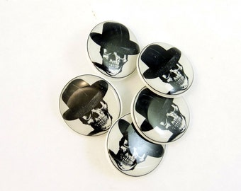 Skull and Black Hat Sewing Buttons.  Human Skull Handmade Buttons. 5 Shank Style.