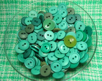 Bulk Buttons - Set Of 150 Buttons - Assorted Green Shades - Vintage Sewing Supplies