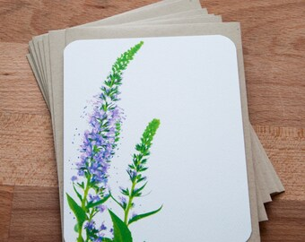 Floral Personalized Stationary Set of 12. Purple Flowers