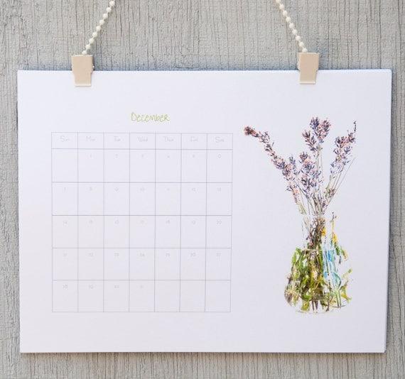2014 Calendario de pared, calendario de 2014. Flores en floreros calendario 2014. Regalo eco amigable