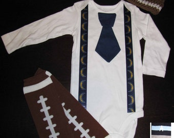 SAN DIEGO CHARGERS inspired football outfit for baby boy - tie bodysuit with suspenders, crochet hat, leg warmers