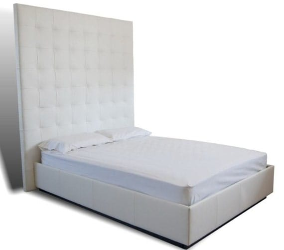 Modern - Contemporary White Queen size Genuine Leather Tufted Bed XXT