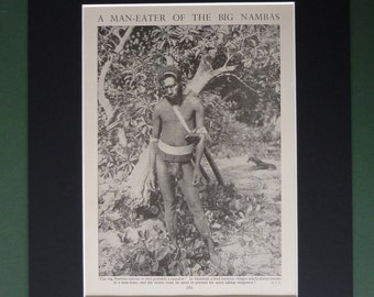 Vintage 1930s Cannibal Matted Print - Big Nambas - Malekula - Malakula - Island Native - Tribal - Tribesman - Warrior Tribe - Cannibalism