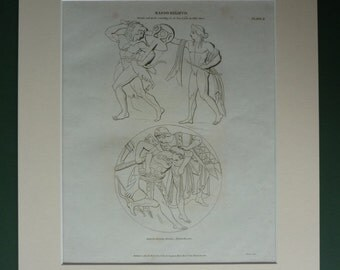 Original 1820 Hercules Matted Print - Greece - Minerva - Classical Art - Architecture - Apollo - Georgian - Relief
