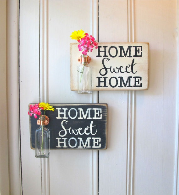 Wall Flower Vase, Home Sweet Home, Antique Bottle, Signage, Wedding Gift, Home Decor, Home Gift