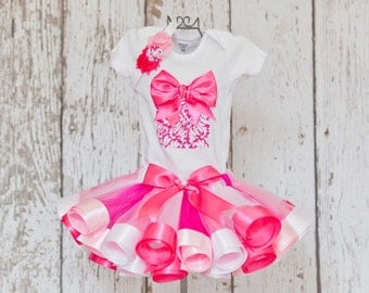 Baby Girl's 1st Birthday Outfit-Onesie or T-Shirt with 3D Present Detail & Age Number and Light Pink, White and Hot Pink Ribbon Trim Tutu