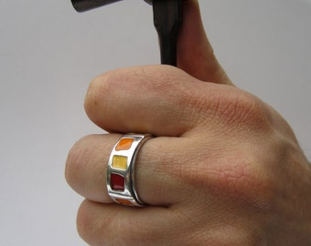 Enamel Band Ring - Moab - Orange, Red, and Yellow Vitreous Enamel and Sterling Silver Ring