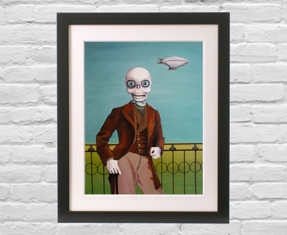 Creepy weird Time Travel Art Print Skeleton Hipster Eclectic Wall Decor Steampunk Sci Fi painting Big Eye Victorian Gentleman Blimp Zeppelin