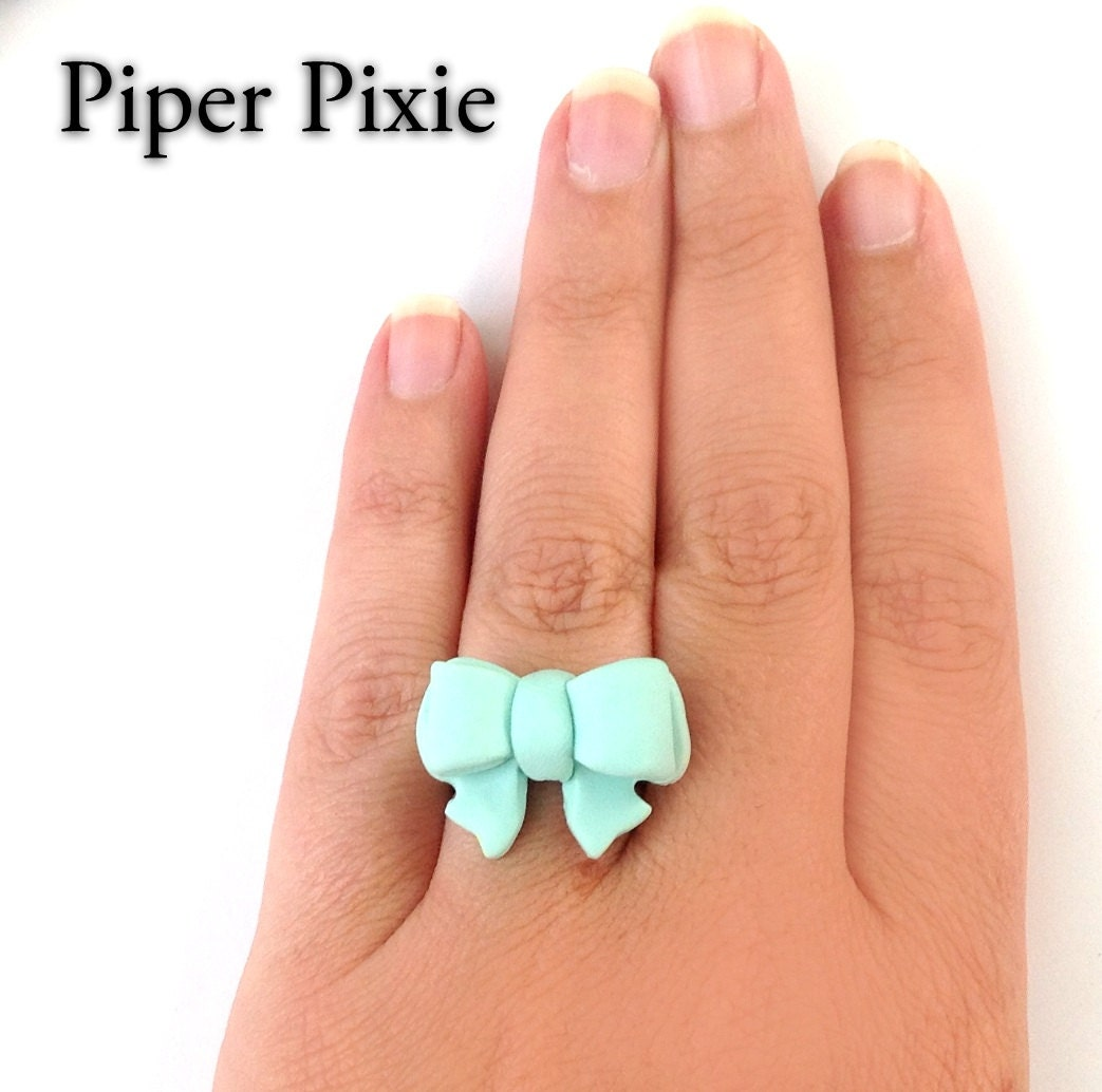 mint bow ring bow jewelry mint jewelry aqua blue fimo