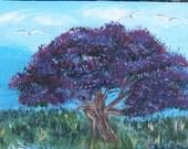 ACEO purple Jacaranda Tree original Art Painting nature trees Birds purple aceo art