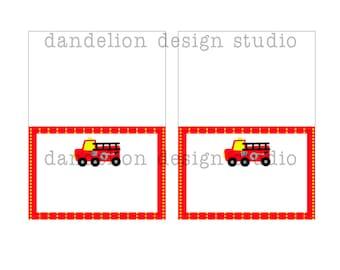 PRINTABLE Fancy Tent Tags - Fire Truck Party Collection - Dandelion Design Studio
