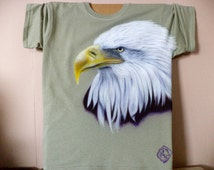 Tshirt American Bald Eagl size adult medium custom airbrushed design painted bird on olive colored heavy weight cotton