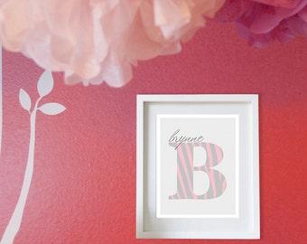 Animal Print Nursery - Baby Nursery Art - Baby Girl Monogram - Zebra Animal Print Decor - Nursery or Kids Room Wall Art - Pink & Gray shown